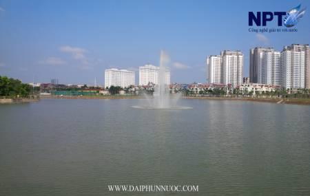 Đài phun nước trên phao nổi tại Thành Phố Giao Lưu - Phạm Văn Đồng - Hà Nội