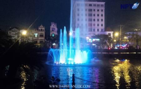 Đai phun nước trên phao nổi tại UBND Tỉnh Bắc Giang